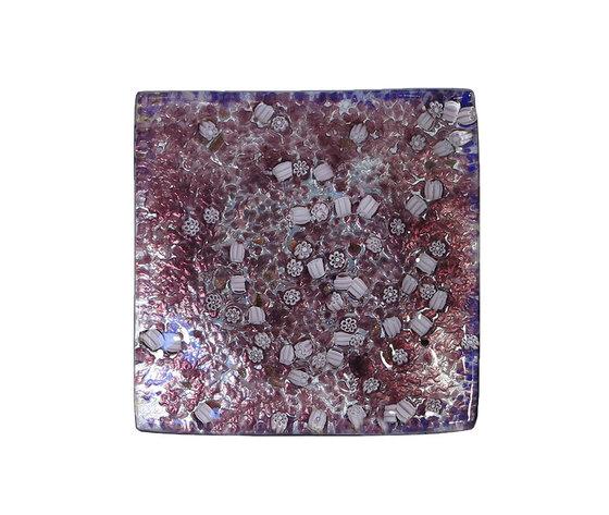 Piatto vetro sg argento quadrato rosa murrina