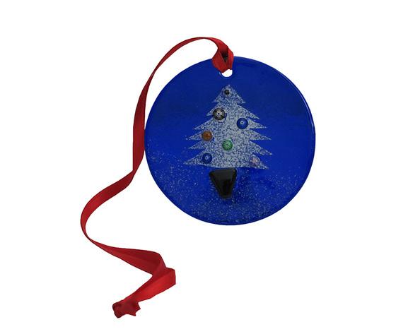 Disco natale muro blu albero