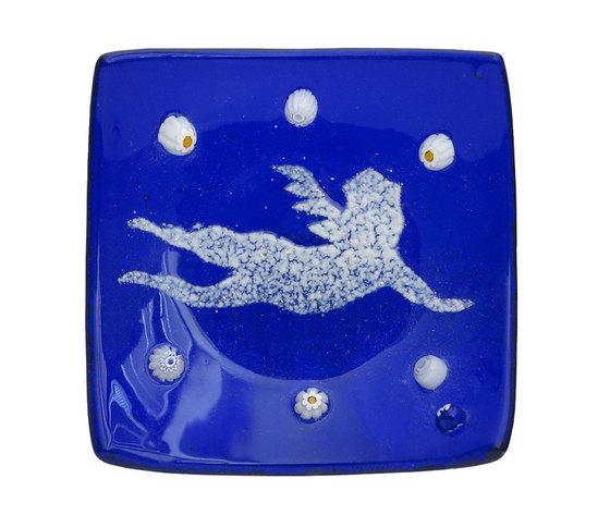 Piatto vetro quadrato blu angelo
