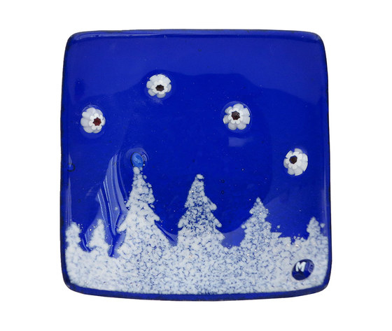 Piatto vetro quadrato blu bosco