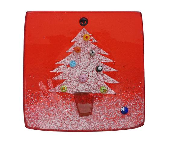 Piatto vetro quadrato rosso albero