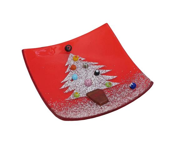 Piatto vetro quadrato rosso albero orizzontale