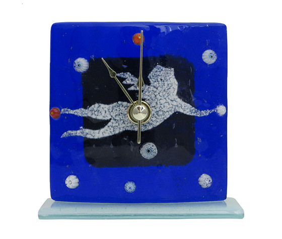 Orologio vetro natale blu angelo