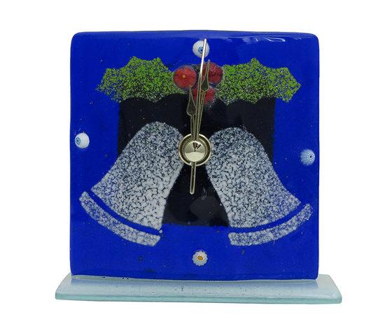 Orologio vetro natale blu campane