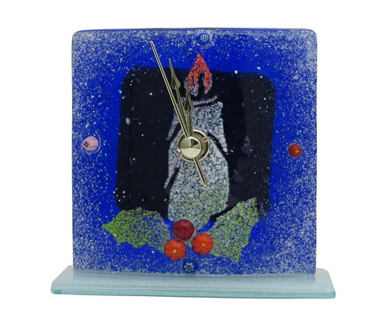 Orologio vetro natale blu candela