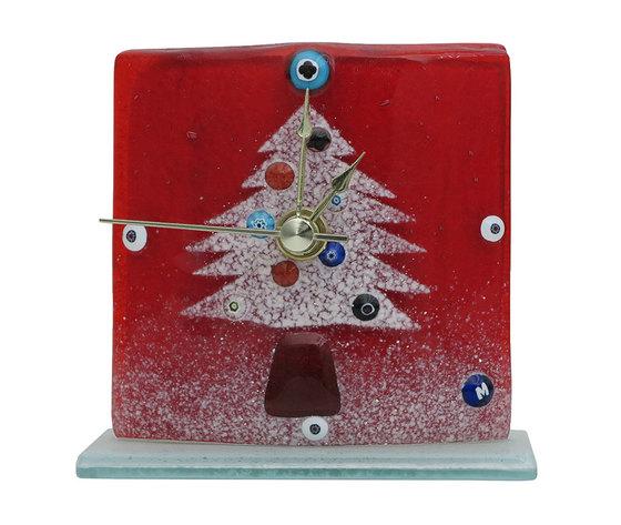 Orologio vetro natale rosso albero