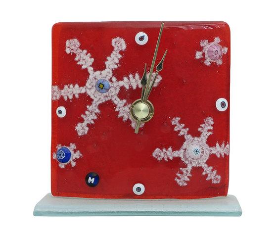 Orologio vetro natale rosso neve