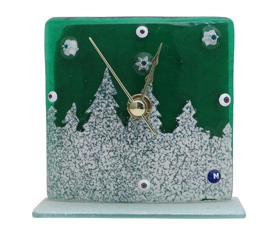 Orologio vetro natale verde bosco