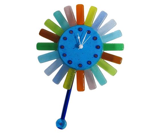 Orologio vetro murano muro pendolo sole raggi colorati azzurro