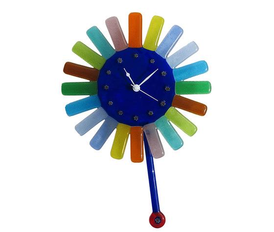Orologio vetro murano muro pendolo sole raggi colorati blu