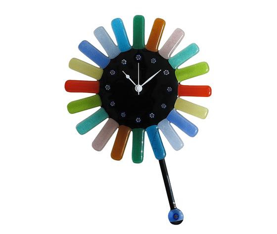 Orologio vetro murano muro pendolo sole raggi colorati nero