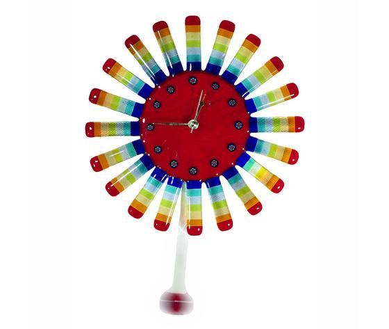Orologio vetro sole raggi concentrici rosso