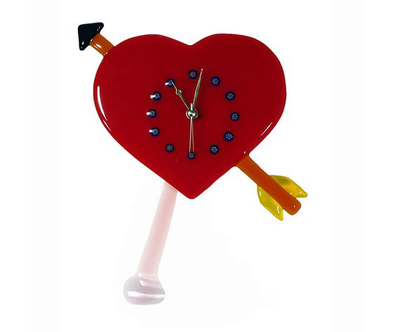 Orologio vetro murano cuore rosso freccia