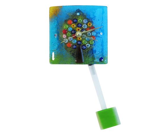 Orologio vetro murano albero vita muro pendolo azzurro