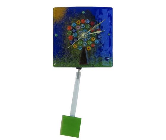 Orologio vetro murano albero vita muro pendolo blu