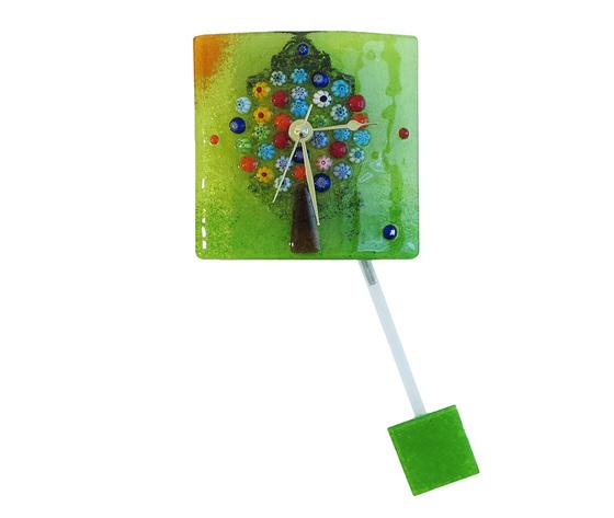 Orologio vetro murano albero vita muro pendolo verde