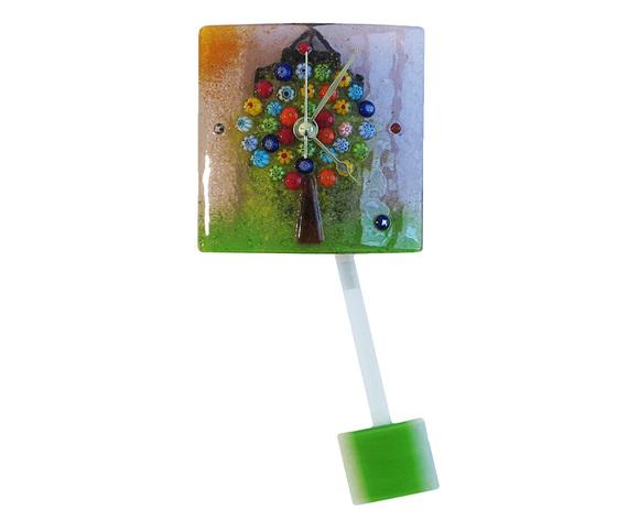 Orologio vetro murano albero vita muro pendolo viola