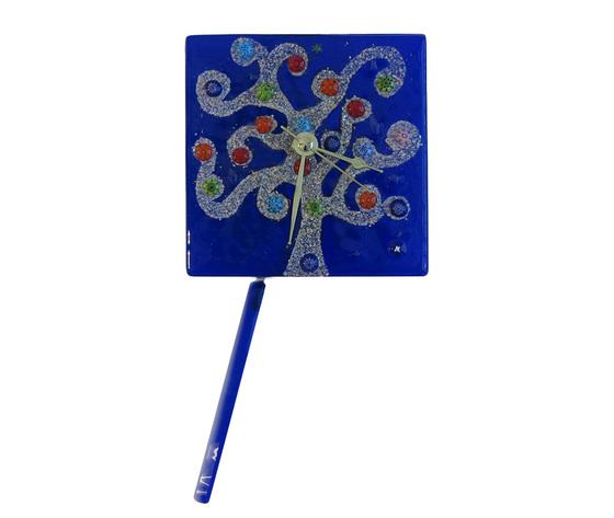 Orologio vetro murano klimt muro pendolo blu