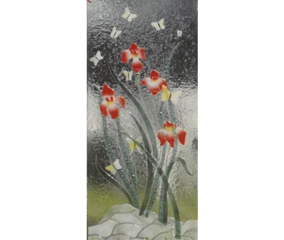 Vetrata fiori rossi
