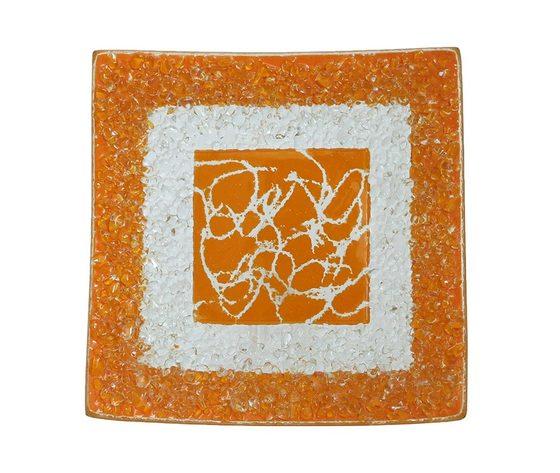 Piatto vetro quadrato arabesco arangione