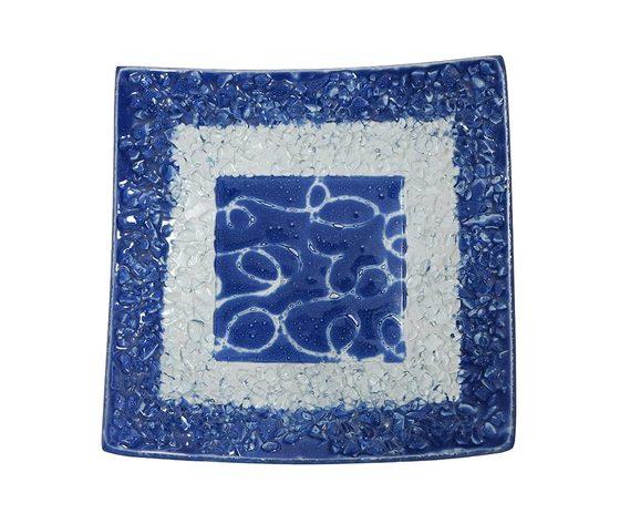 Piatto vetro quadrato arabesco blu