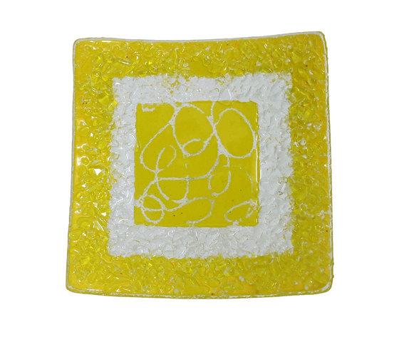 Piatto vetro quadrato arabesco giallo