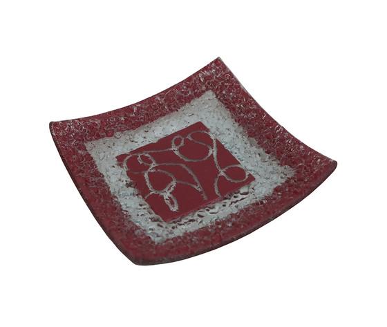 Piatto vetro quadrato arabesco rossa orizzontale