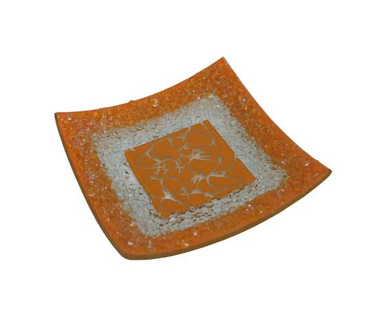 Piatto vetro quadrato arabesco arangione orizzontale