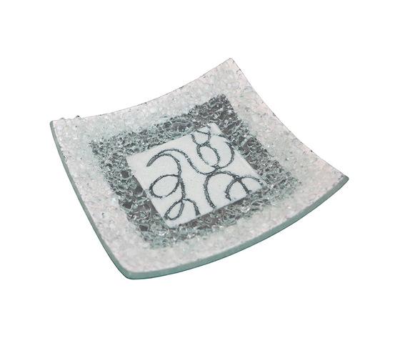 Piatto vetro quadrato arabesco bianco orizzontale