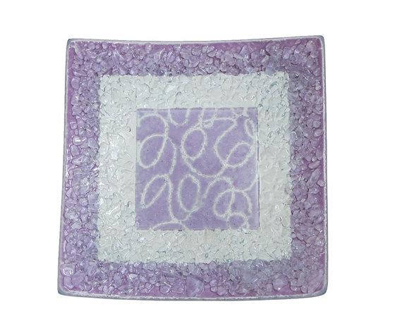 Piatto vetro quadrato arabesco lilla