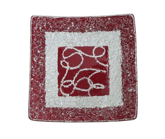 Piatto vetro quadrato arabesco rossa