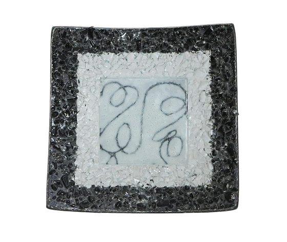 Piatto vetro quadrato arabesco bianco nero