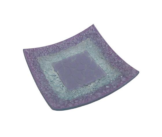Piatto vetro quadrato arabesco lilla orizzontale