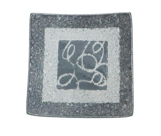 Piatto vetro quadrato arabesco grigio