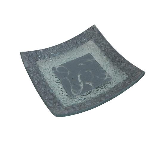 Piatto vetro quadrato arabesco grigio orizzontale