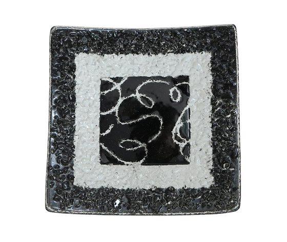 Piatto vetro quadrato arabesco nero