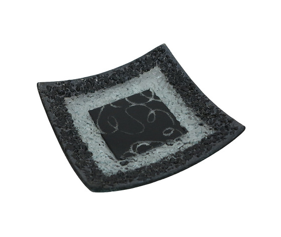 Piatto vetro quadrato arabesco nero orizzontale