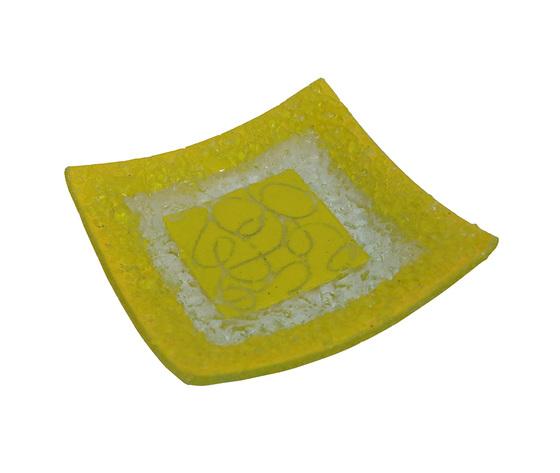 Piatto vetro quadrato arabesco giallo orizzontale