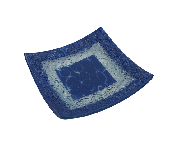 Piatto vetro quadrato arabesco blu orizzontale