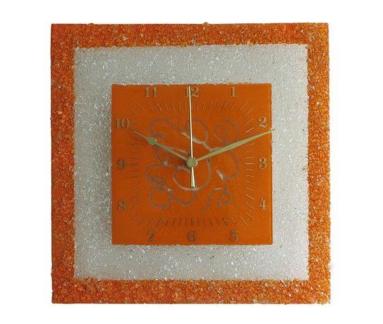 Orologio vetro muro quadrato arabesco arancione