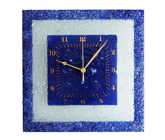 Orologio vetro muro quadrato arabesco blu