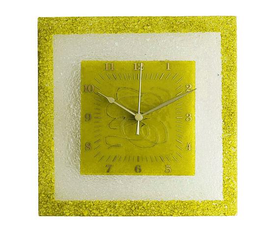 Orologio vetro muro quadrato arabesco giallo