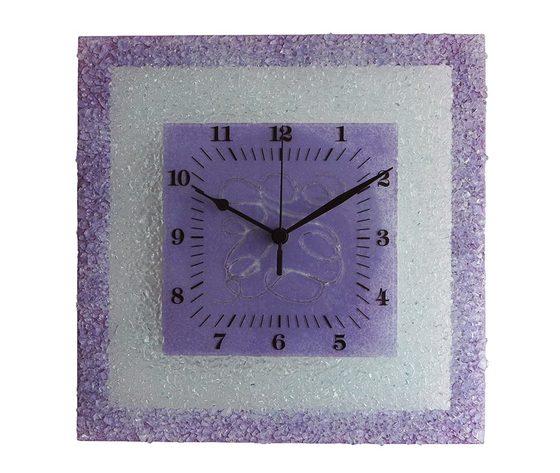 Orologio vetro muro quadrato arabesco lilla
