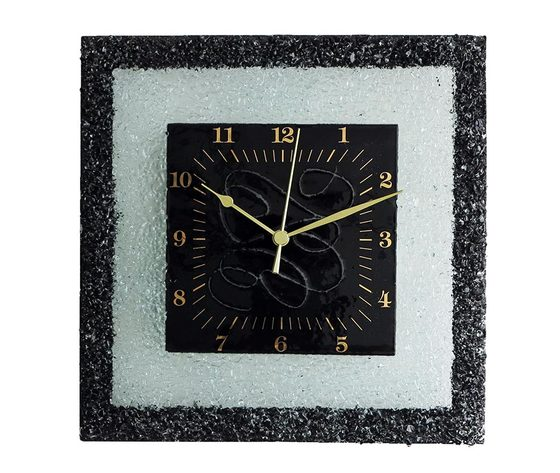 Orologio vetro muro quadrato arabesco nero