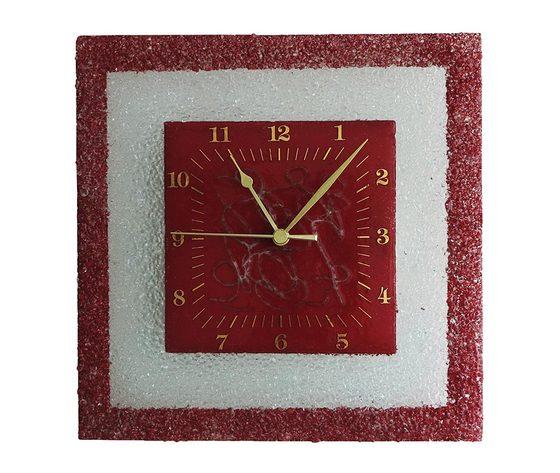 Orologio vetro muro quadrato arabesco rosso