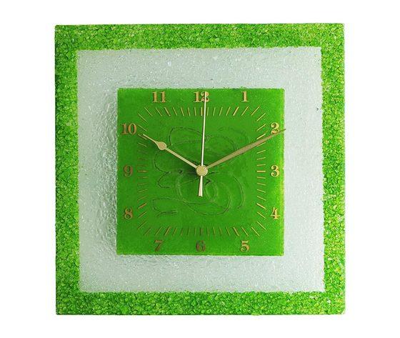 Orologio vetro muro quadrato arabesco verde