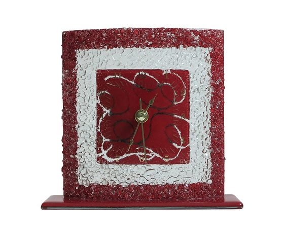 Orologio vetro tavolo quadrato arabesco rosso