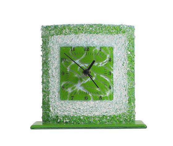 Orologio vetro tavolo quadrato arabesco verde