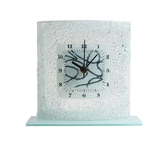 Orologio vetro tavolo quadrato arabesco bianco