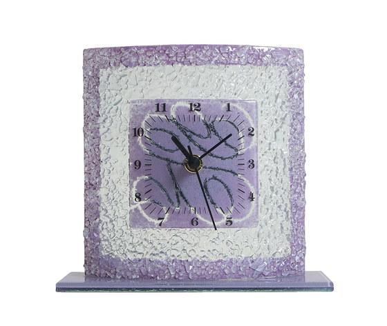 Orologio vetro tavolo quadrato arabesco lilla